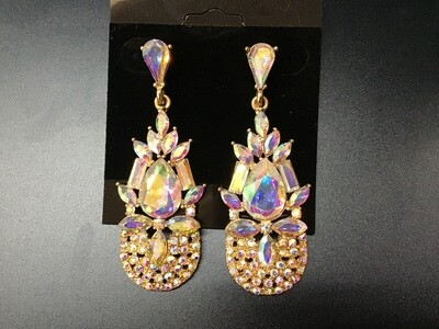 Formal Earrings Gold AB Small Cluster