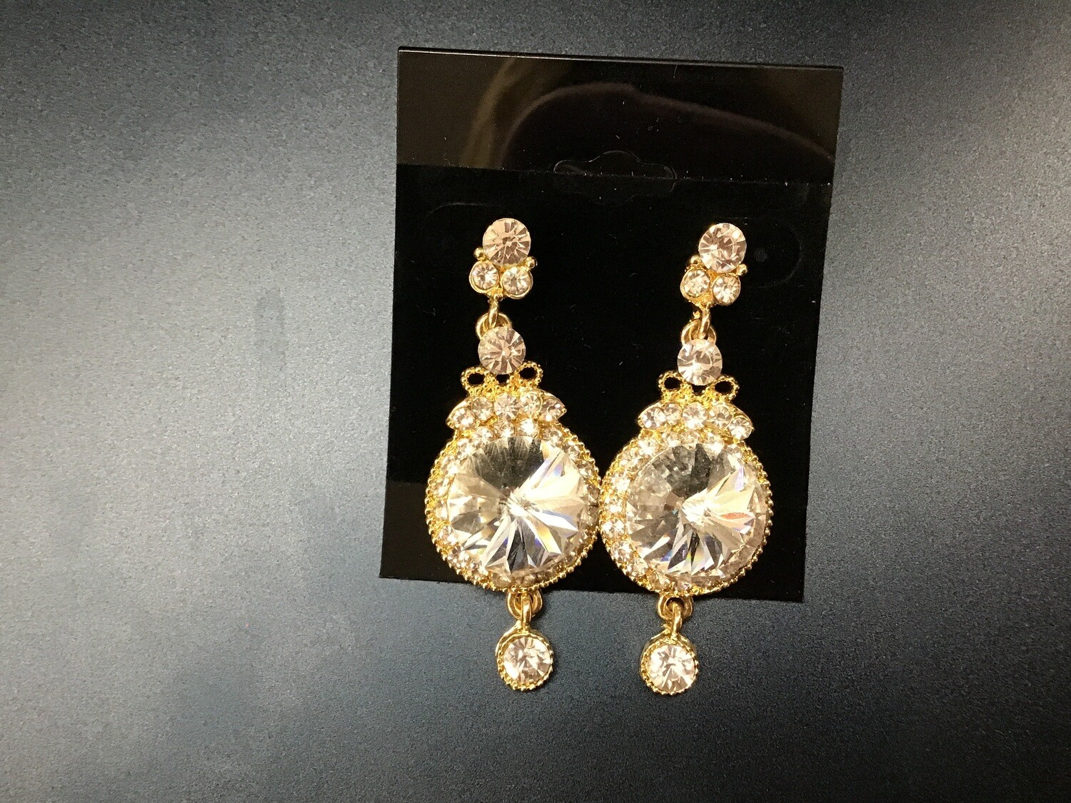 Formal Earrings Gold Clear Big Circle Stone
