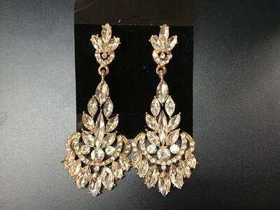 Formal Earrings Gold Clear Large Bottom