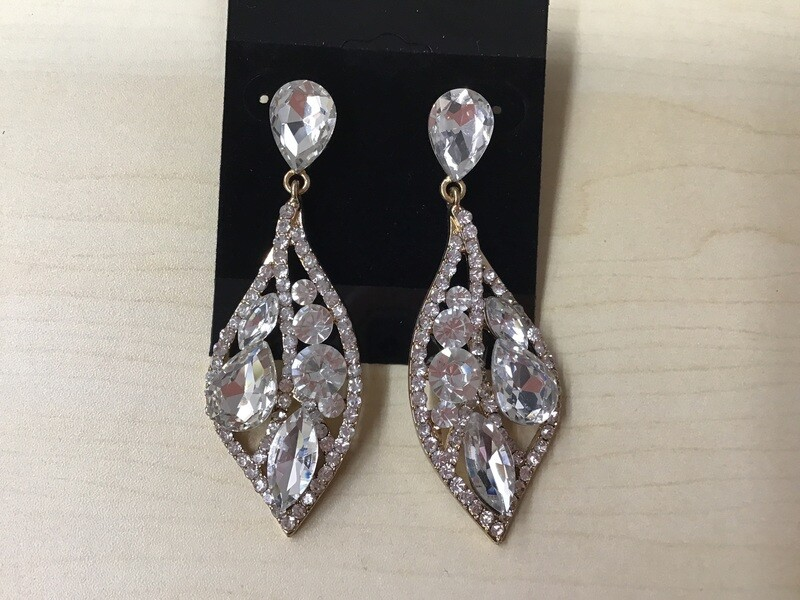 Tear Drop Gold/rhinestone Earrings