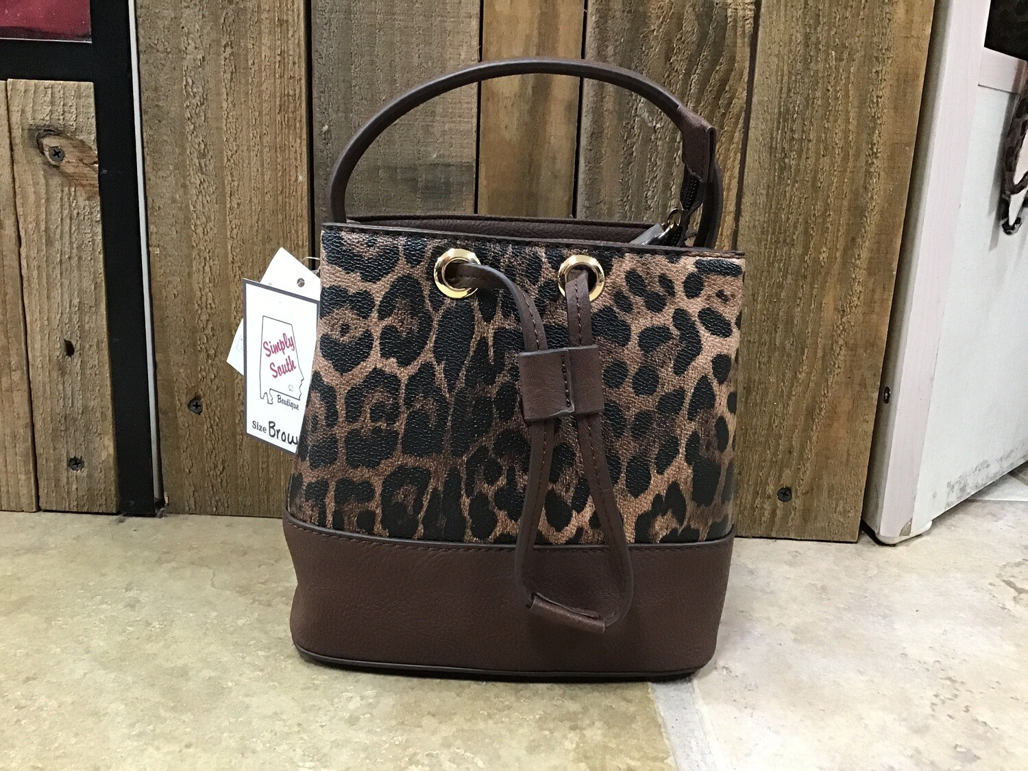 Leopard Bucket Crossbody Purse