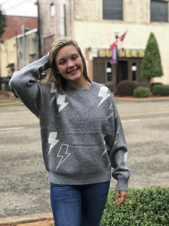 Gray Thunder Bolt Sweater