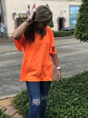 Neon Orange Flutter Sleeve Top