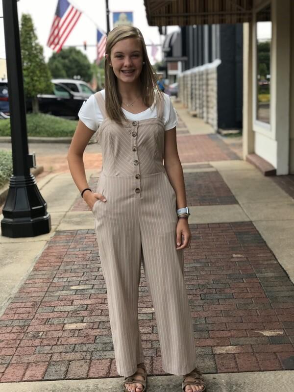 Beige Striped Jumpsuit Size Medium