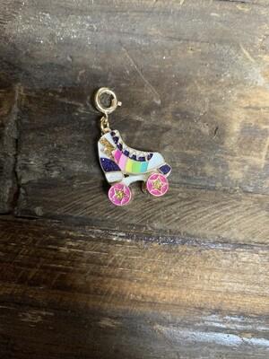 Charm Gold Rainbow Rollerskates