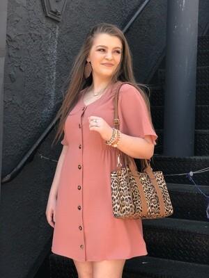 Dusty Pink Button Dress