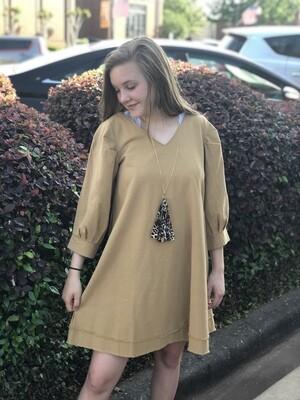 Spicy Mustard Fray Hem Dress