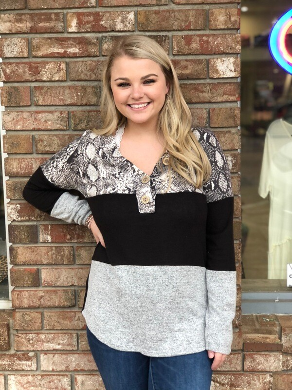 Snakeskin Long Sleeve Top with Buttons