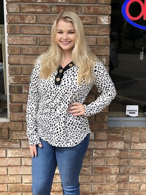 Black Dotted Long Sleeve Top