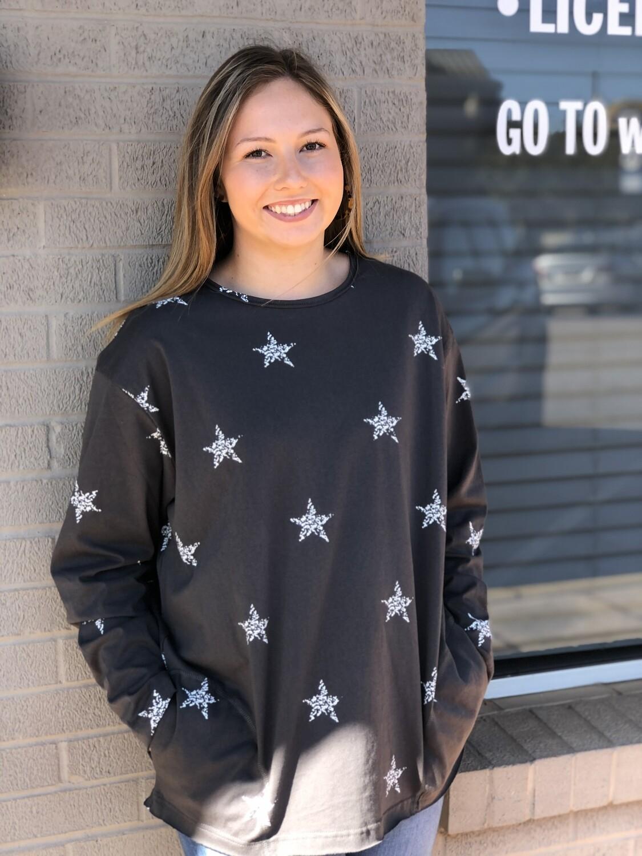 Star Printed Grey Top
