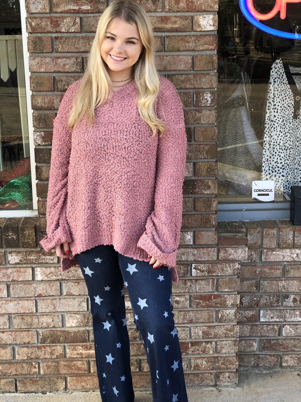 Oversized Blush Popcorn Sweater