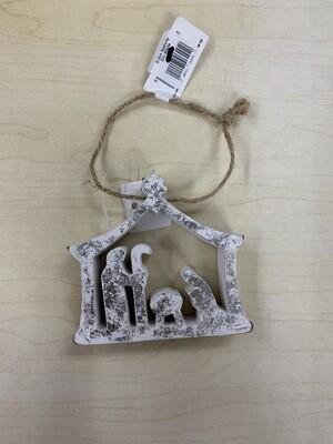 SMALL white Nativity Ornament