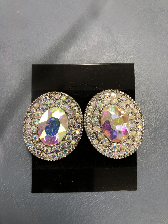 Formal Earrings Silver AB Large Stud