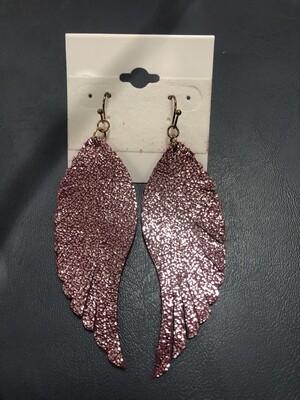 Pink Earrings Angel Wings