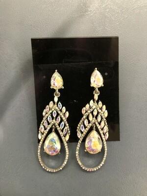 Formal Earrings Silver AB Short Teardrop