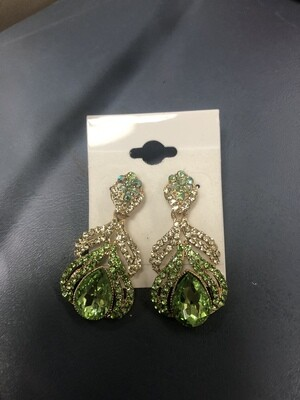 Small Green Evening Earrings