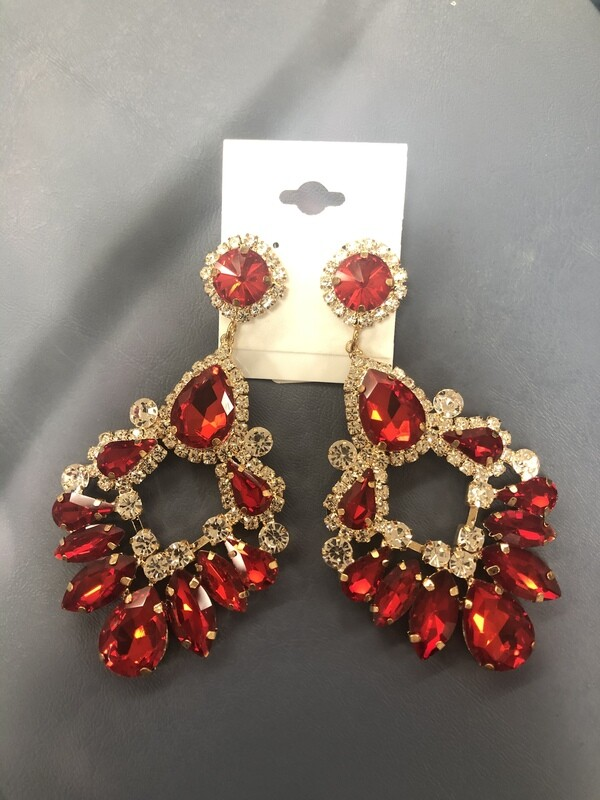 Large Red Formal Earrings