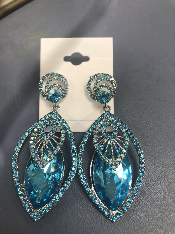 Formal Earrings Blue Detailed Stone