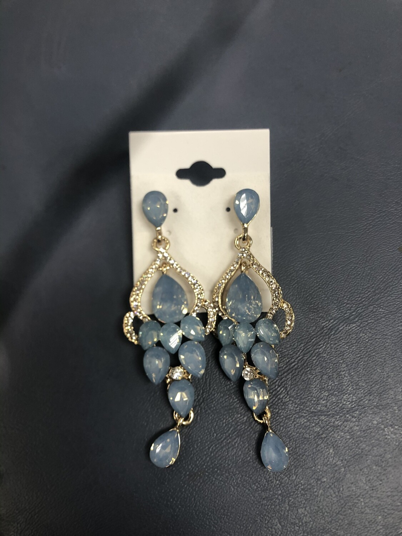 Formal Earrings Light Blue Gold Chandelier