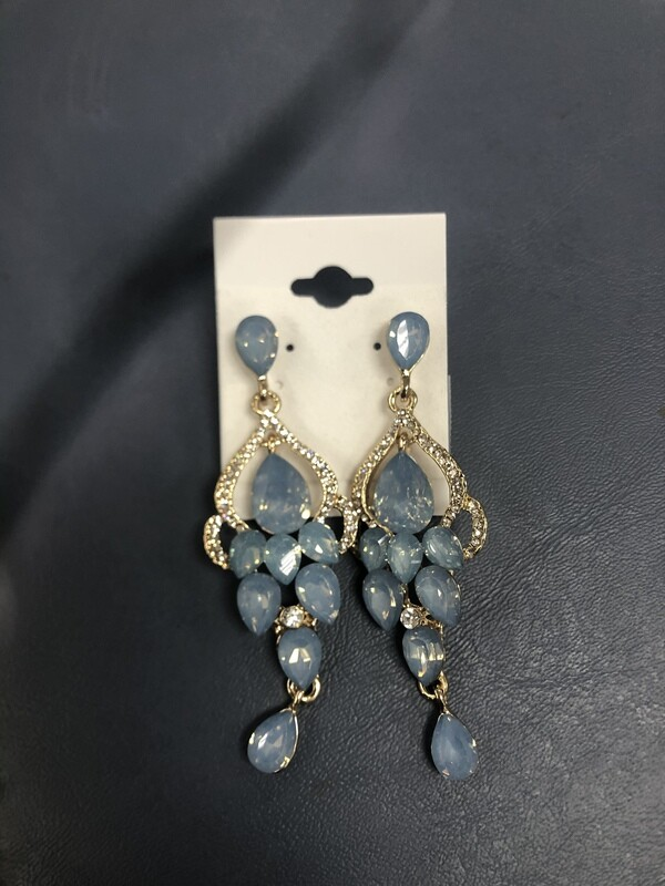Light Blue Evening Earrings