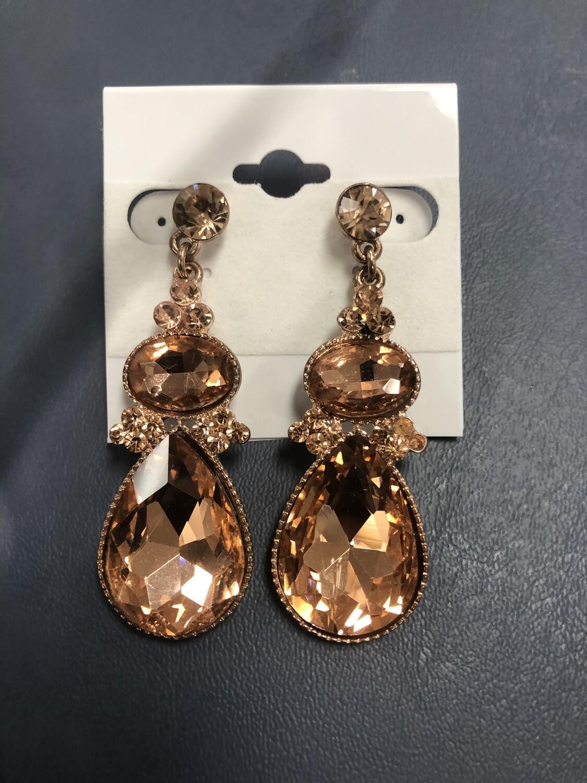 Rose Gold Drop Formal Earrings