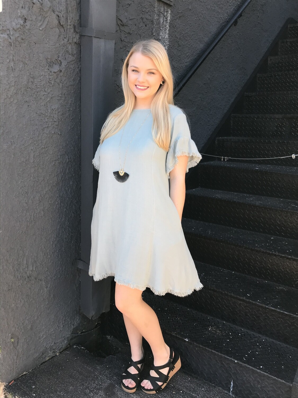 Back Cutout Mint Dress
