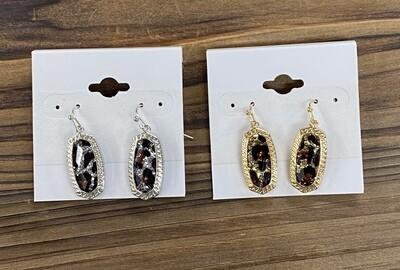 Oval Earrings Sparkle Leopard