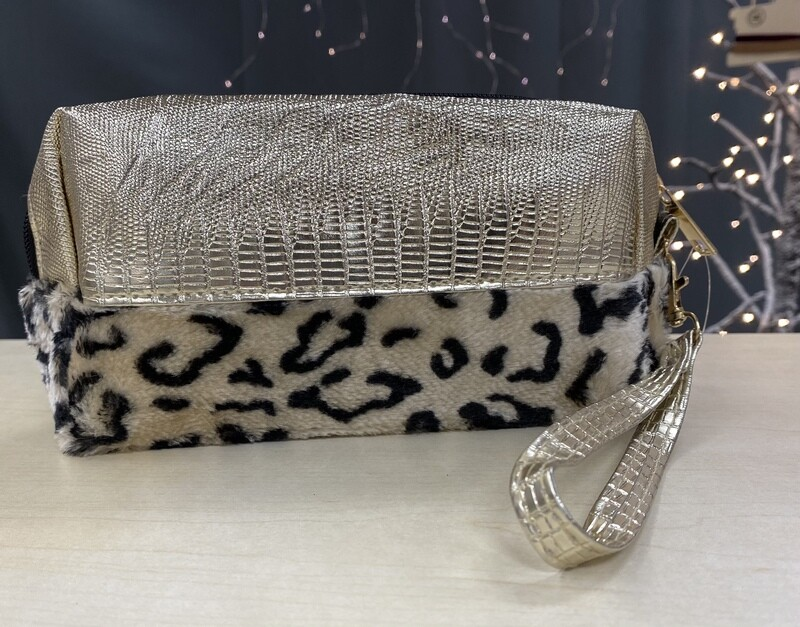 Cosmetic Bag Ivory Leopard Print