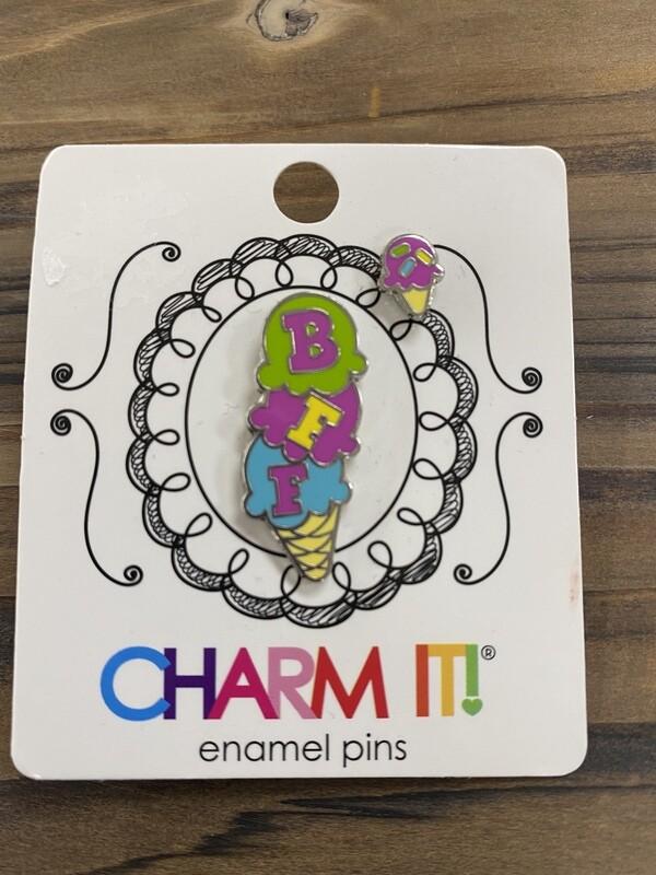 Ice Cream Cone Charm Pin