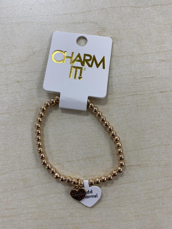 Charm It Gold 4mm Stretch Bracelet