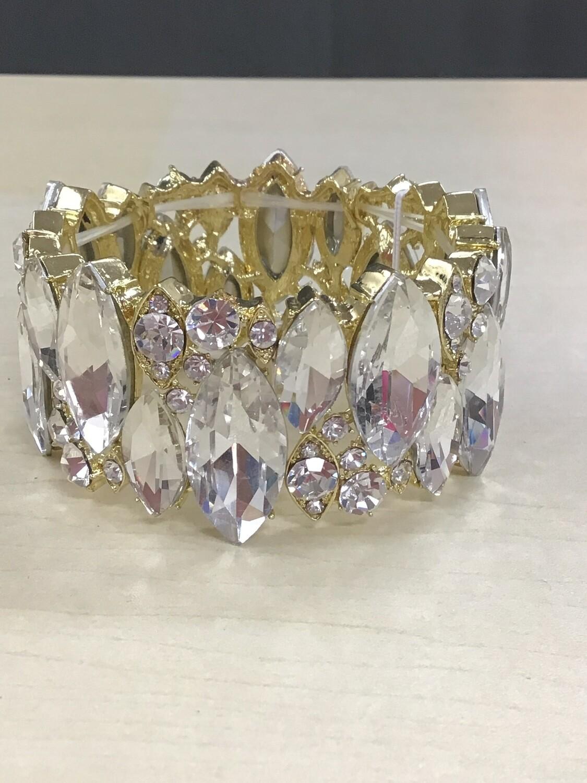 Eve Bracelet Gold w/Clear stones