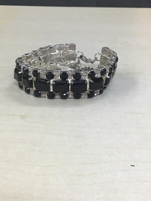 Black Adjustable Bracelet Silver