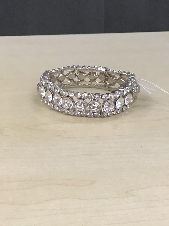 Silver Rhinstone Evening Bracelet