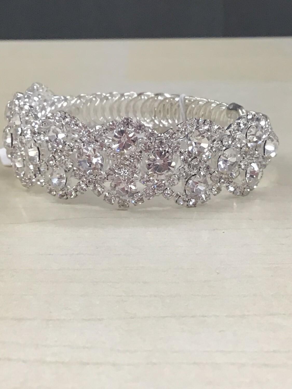 Evening Silver Clear Stone Bracelet
