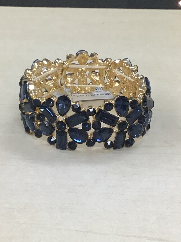Navy Gold Evening Bracelet