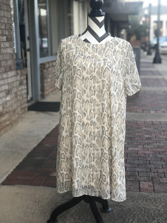 Taupe Snakeskin Dress (Plus)