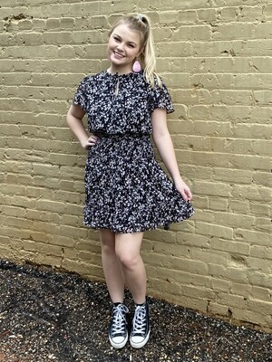 Black Printed Smocked Dress
