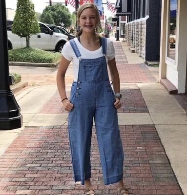 Denim Overalls Wide Leg