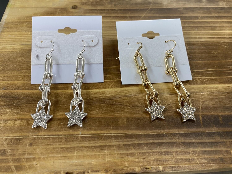 "Chain w/RS Star 2"" Drop Earring"