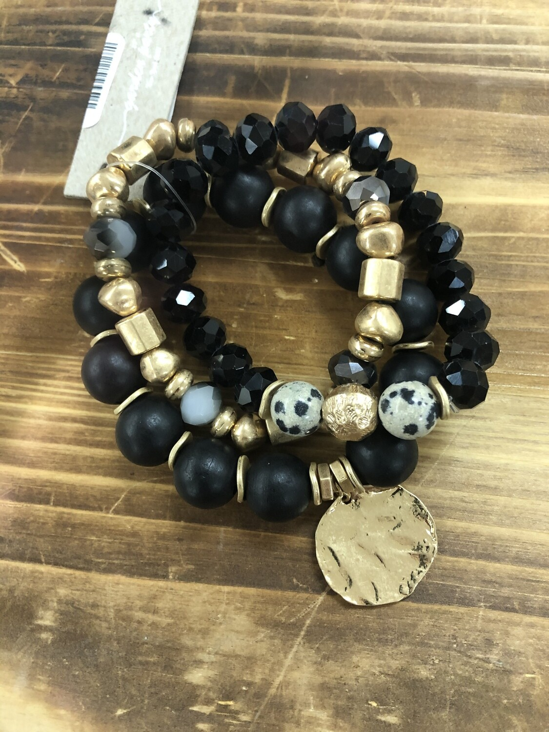 Set/3 Black/Gold/Nat Stretch Brac