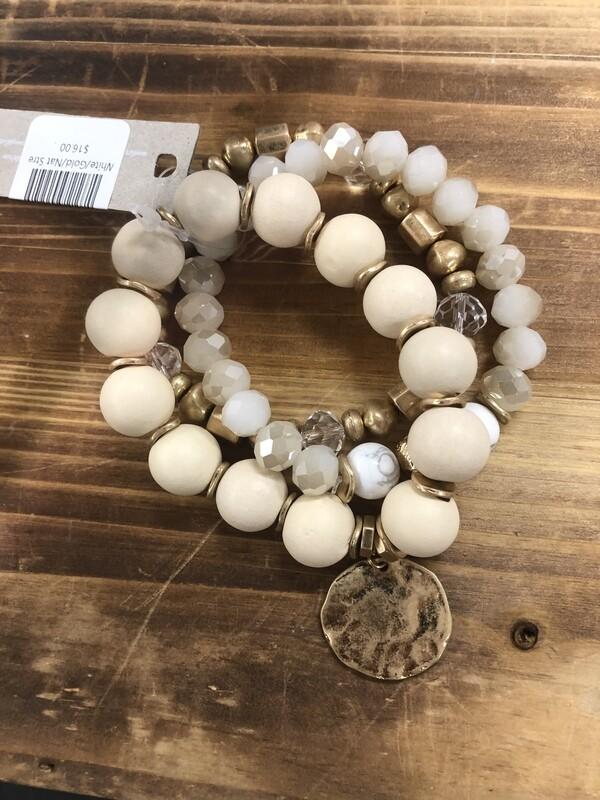 White/Gold/Nat Stretch Bracelet Set