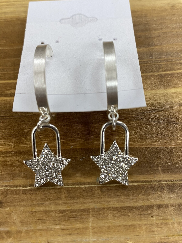 Silver Hoop W/RS Star 1.25 Earring