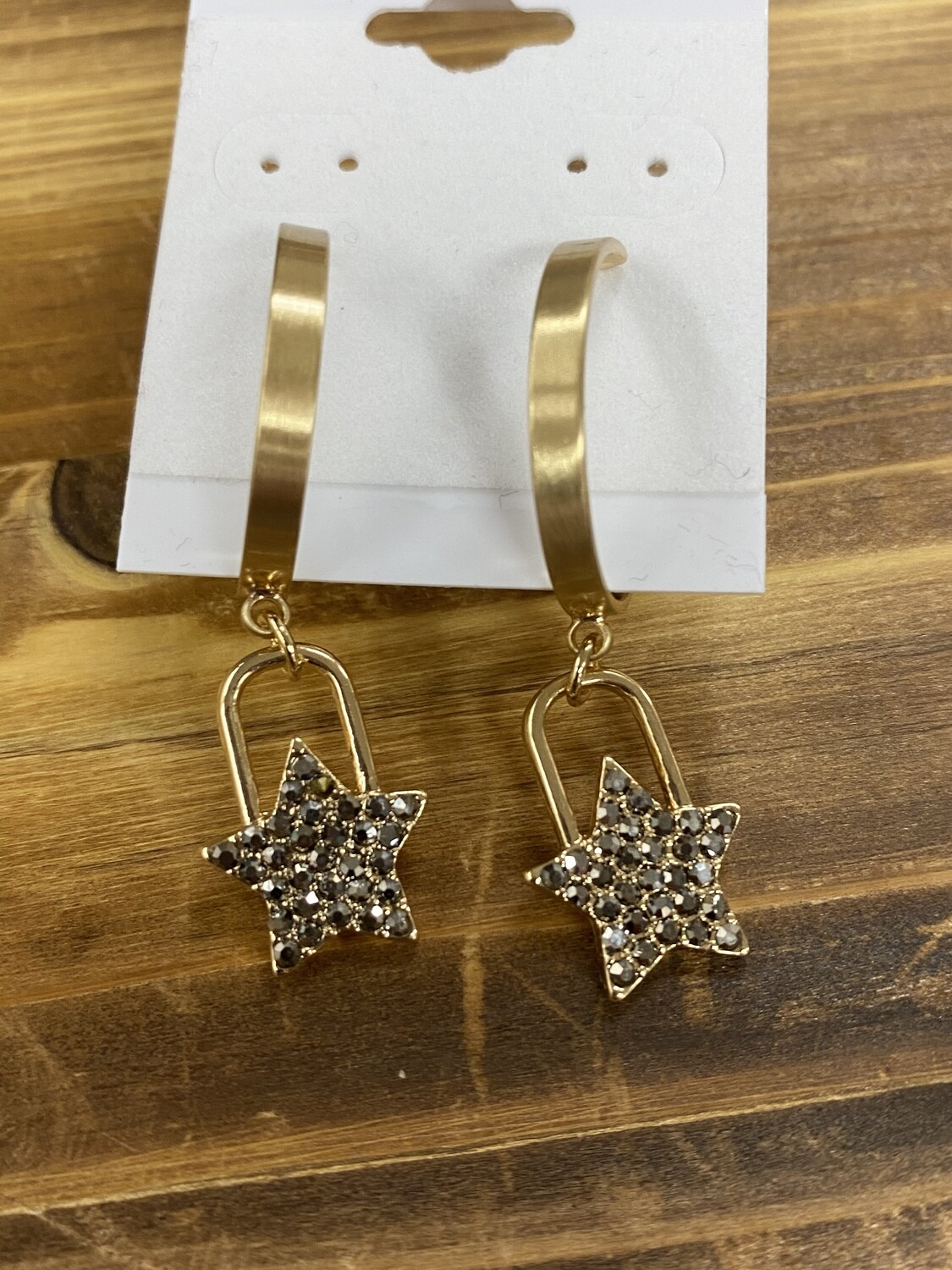 "Gold Hoop w/Herm RS Pave Star 1.5"" Earring"