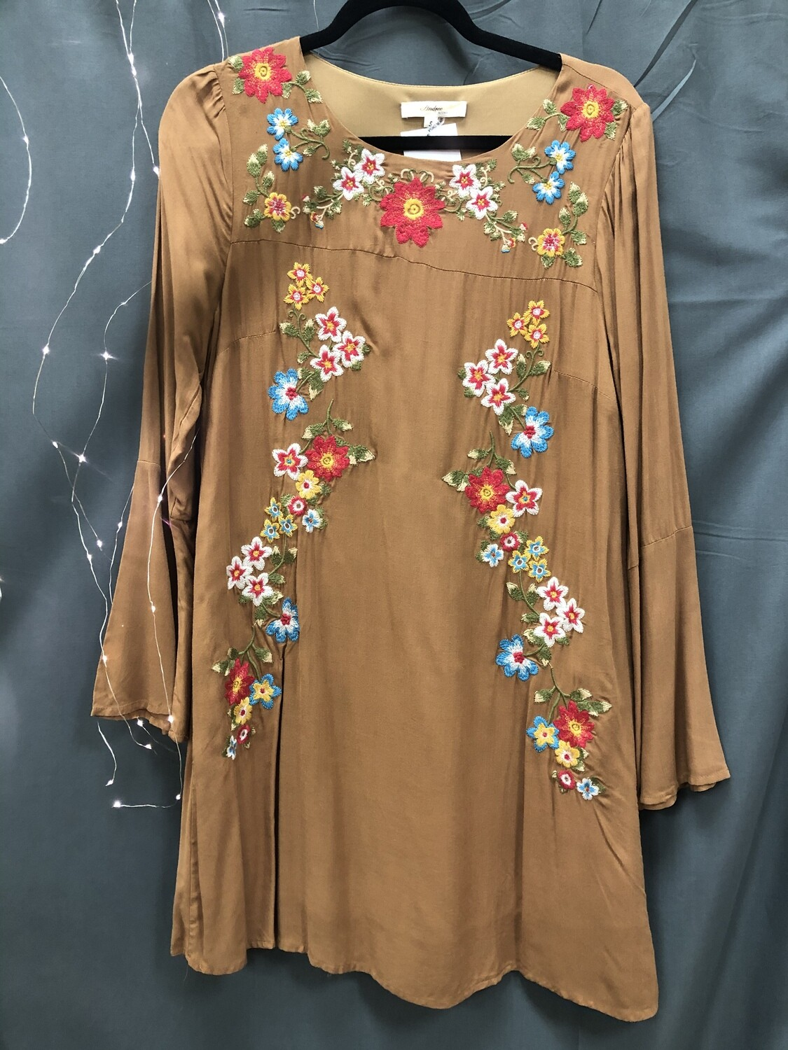 Dress Camel Embroidered