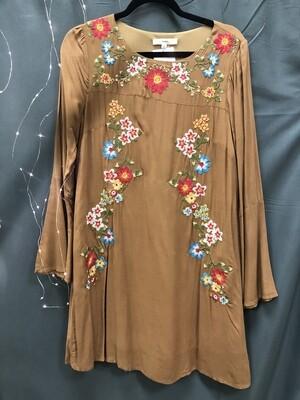 Dress Camel Embroidered