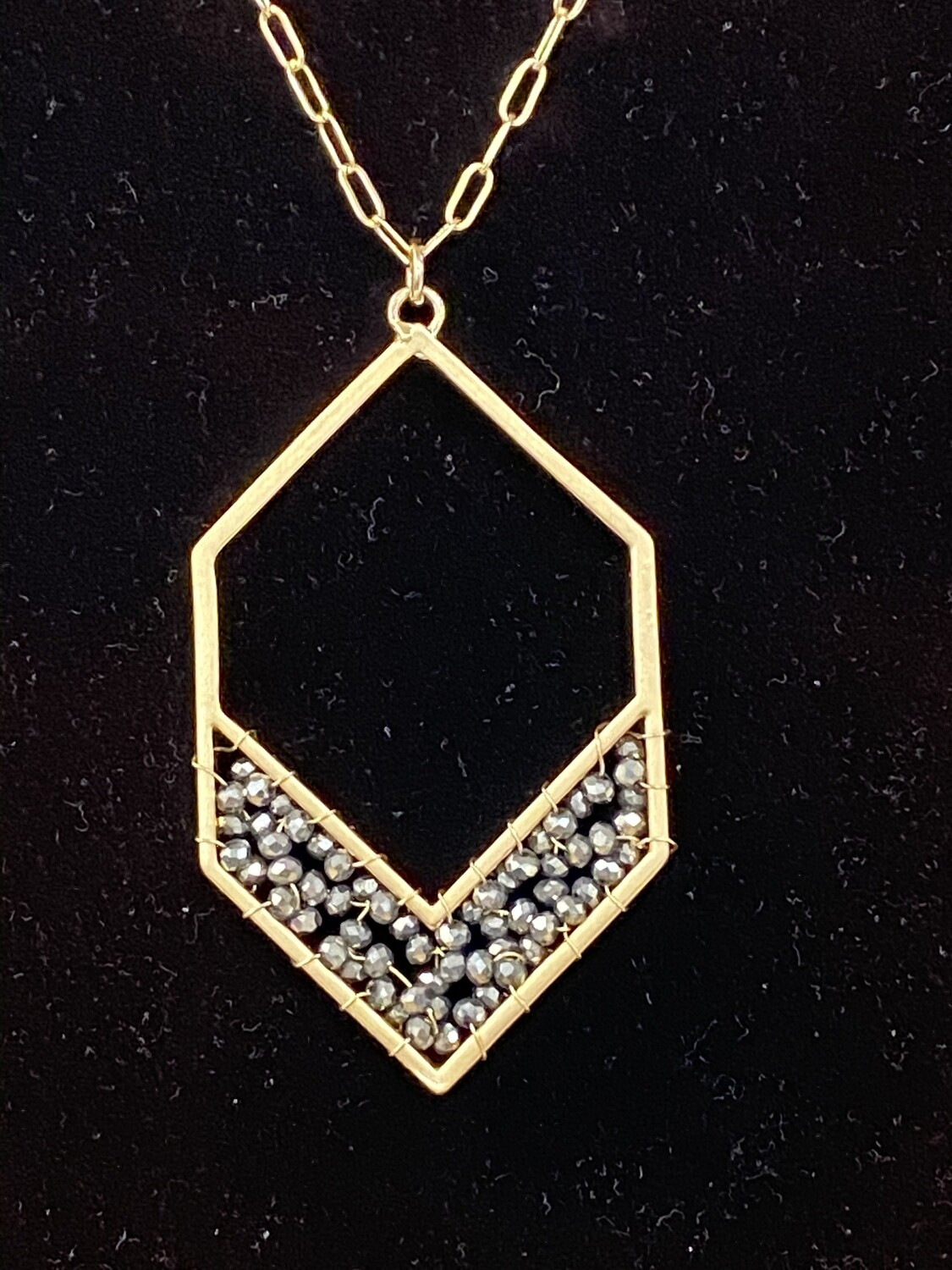 """Crystal Gray Hex 34"""" Necklace"""