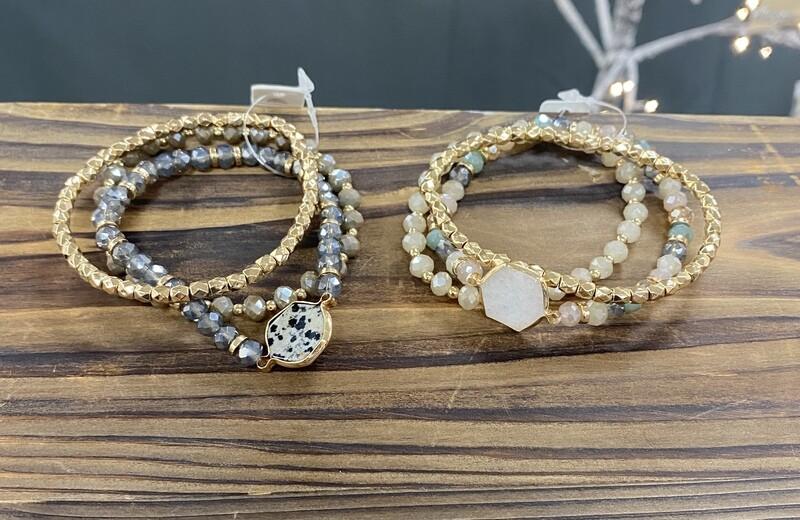 Dalmatian Natural Stone 3 Bracelet Set