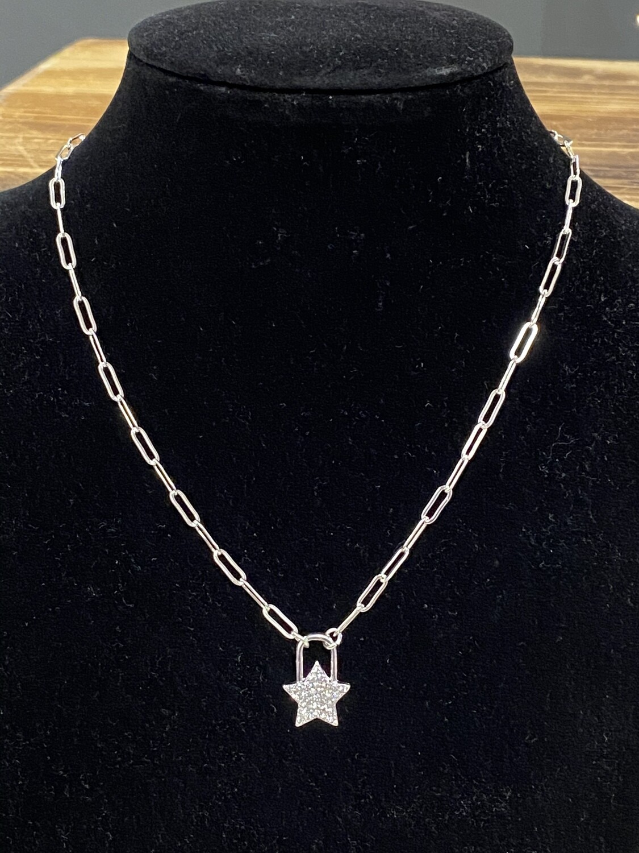 "Silver Chain w/RS Star 16""-18"""