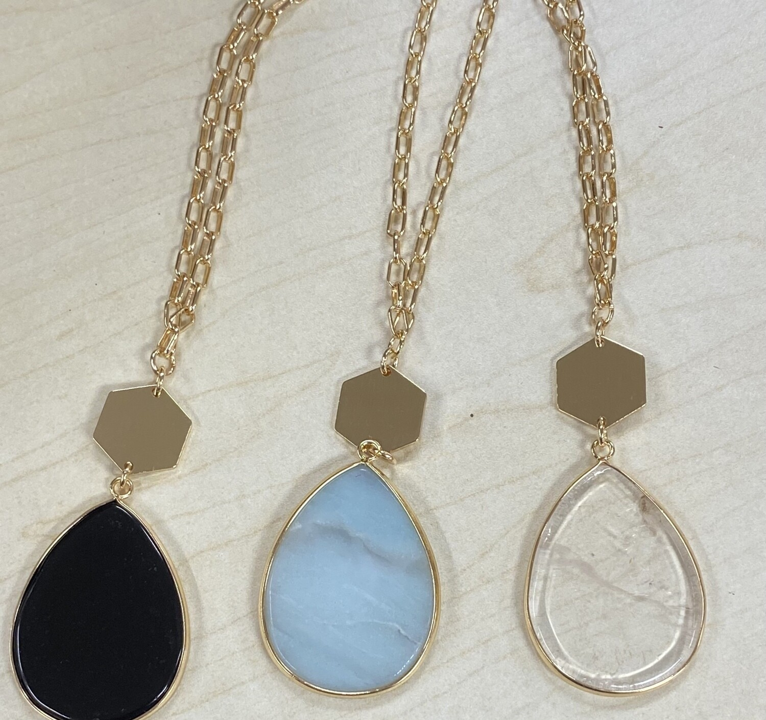 """Natural Stone Teardrop Gold Chain 32"""" Necklace"""