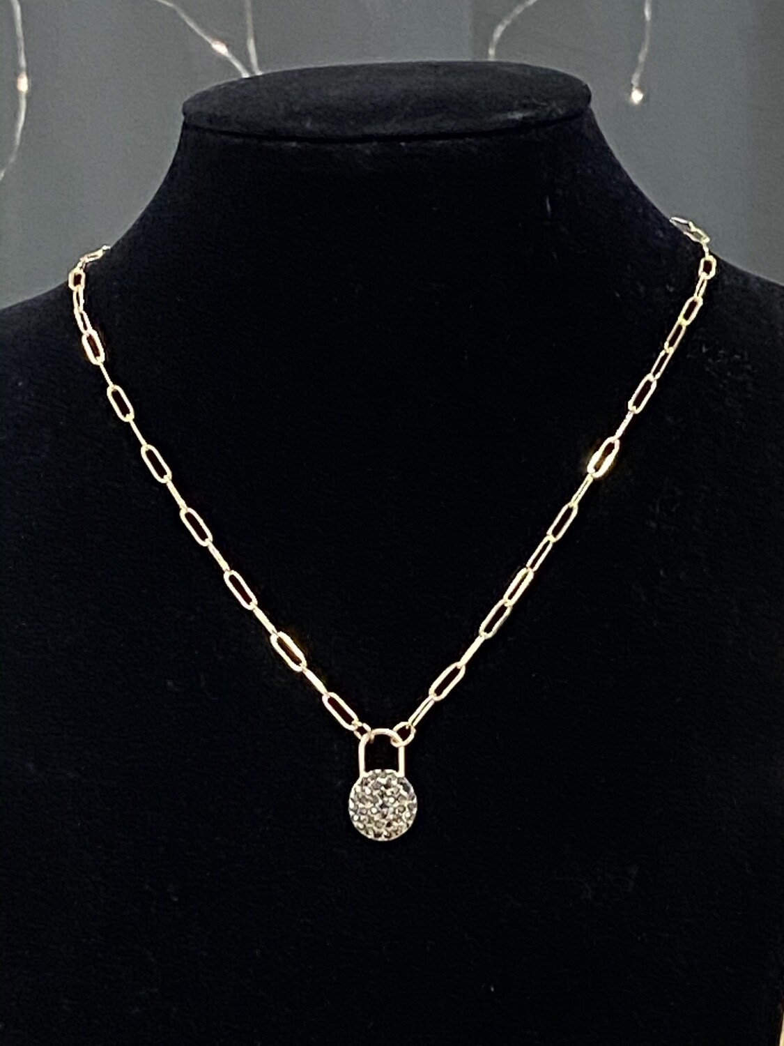 """Gold Chain w/Circle Drop Necklace 16""""-18"""""""